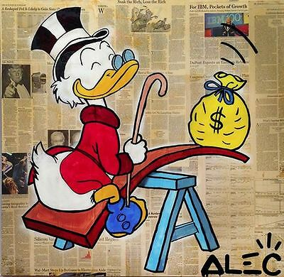 """Alec Monopoly Oil painting on canvas Graffiti art wall decor Mr. Scrooge 28x28"""""""
