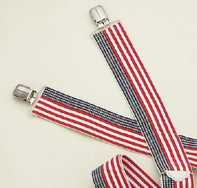 "Mens Suspenders 2"" Red White Blue Striped Elastic Strectch Heavy Made In USA NEW"