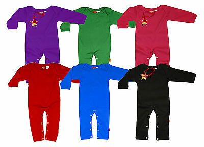 Baby Long Leg Long Sleeve Blank Plain Colour Playsuit Sleepsuit 100% Cotton
