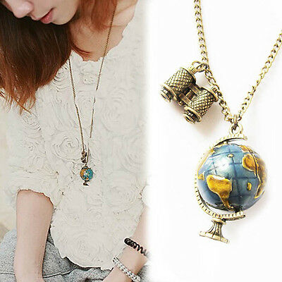 Vintage Globe Necklace Planet Earth World Map Art Pendant with Ball Chain Fine
