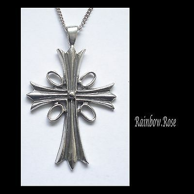 Chain Necklace #1339 Pewter CROSS (62mm x 38mm)