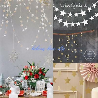 Paper Garland Strings Star Shape Wedding Party Bridal Home Hanging Decoration LD