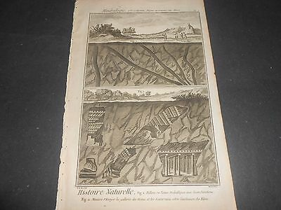 1751/72 Copper Engraving Mine Filons Et Travaux Coupe Diderot D'alembert N°5