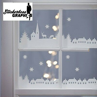 Christmas Village Scene Vinyl Stickers Decal Xmas Window Decoration 1 meter long