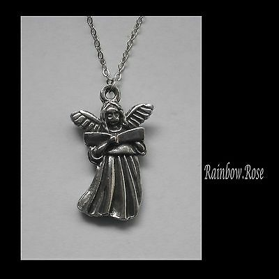 Chain Necklace #1371 Pewter ANGEL  (27mm x 18mm)