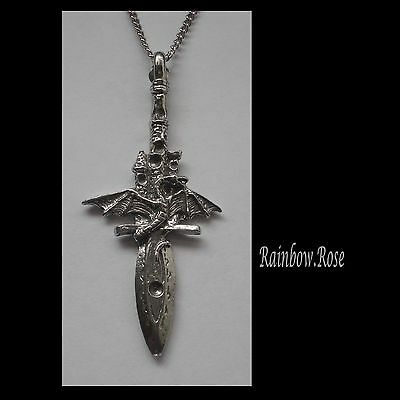 Pewter Necklace on Chain #1392 DRAGON SWORD DAGGER (62mm x 27mm)