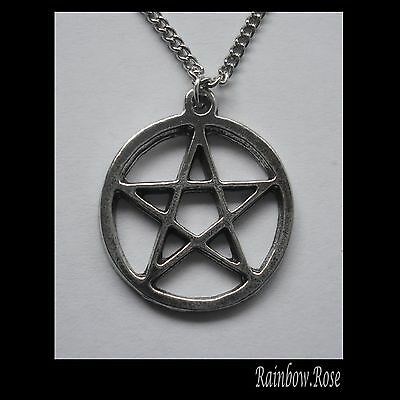Chain Necklace #1409 Pewter PENTAGRAM in circle (27mm x 24mm)