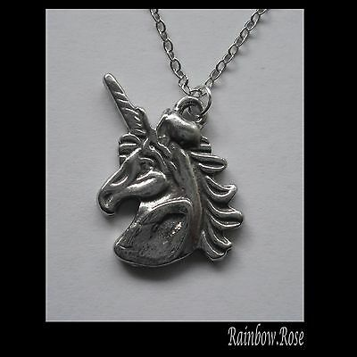 Pewter Necklace on Chain #1411 UNICORN HEAD (23mm x 18mm)