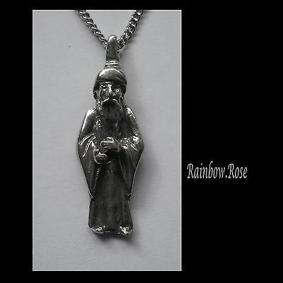Chain Necklace #1417 Pewter WIZARD (37mm x 12mm)