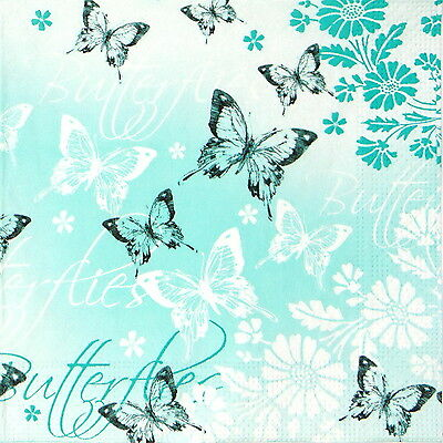 4 Single Table Party Paper Napkins for Decoupage Decopatch Butterfly in Turquois
