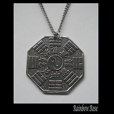 Chain Necklace #1440 Pewter YIN YANG CHINESE OCTAGON COIN (28mm) double sided