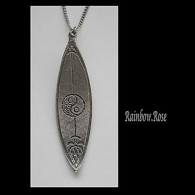 Chain Necklace #1443 Pewter SURF BOARD (68mm x 18mm) YIN YANG