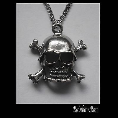 Chain Necklace #1452 Pewter SKULL & CROSSBONES (25mm x 24mm) X BONES GOTH