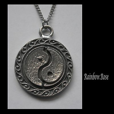 Chain Necklace #1460 Pewter YIN YANG DISC PENDANT (36mm x 28mm)