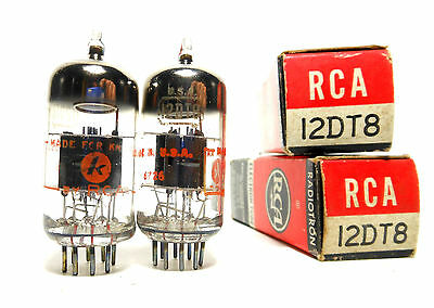 Matched PAIR 12DT8 Tube RCA USA NOS NIB Dual Triode Black Plate O Getter Knight