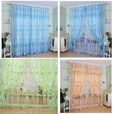 Voile Door Window Curtain Floral Tulle Drape Panel Sheer Scarf Valances Divider