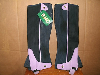 New Adult L Black & Purple RHC Washable Synthetic Suede Half Chaps