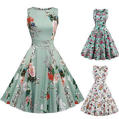 Women's 1950s 60s Vintage Floral Style Rockabilly Cocktail Party Swing Dresses