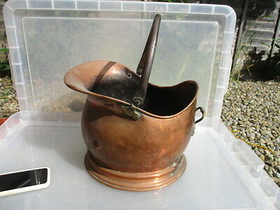 Antique Copper Fireplace Coal Bin Log Basket Scuttle Vintage Old Brass Handle
