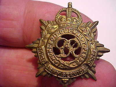 original british brass collar badge royal army service corps