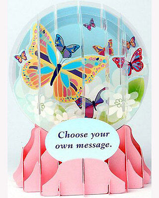 3D Pop Up Snow Globe greeting card by Up With Paper - BIG BUTTERFLY -#EG-019