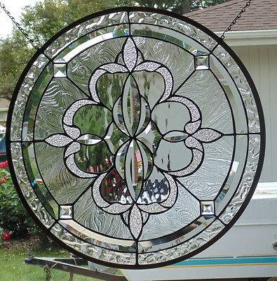 """Stained Glass window hanging 23"""" circle"""