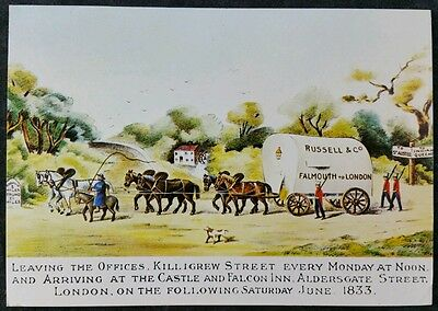 Russells Waggon 1833 From Falmouth To London Royal Mail Postcard Unused SWPR4
