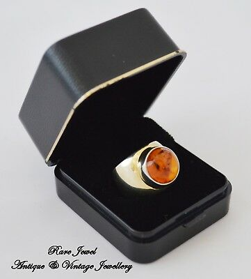 Vintage Amber Ring Mexican Wonderful Vermeil Gold On Sterling Silver & Signed