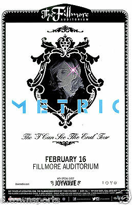 METRIC  I Can See The End Tour 2016 Fillmore - Denver Concert Flyer / Gig Poster