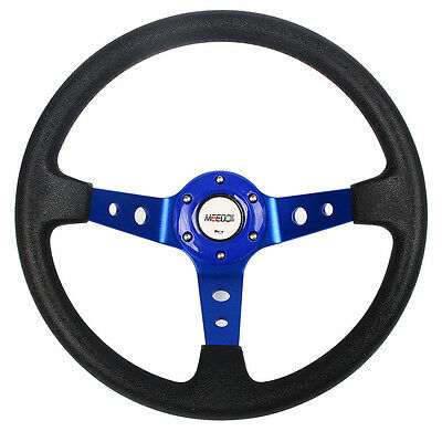 Car Steering Wheel Blue Deep Dish Drifting/Track PVC Sport Race With Horn Button