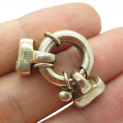 UTC Italy 925 Sterling Silver Large Hollow Spring Ring Clasp Bracelet Lock