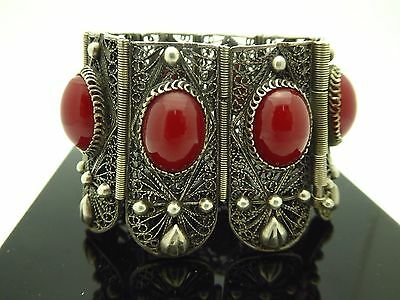 Vintage 1960s Large Filigree Egyptian Revival Silver Red Art Glass Bracelet 6.5
