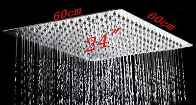 "New 24"" Ultra Thin 304 Stainless Steel Rainfall Bathroom Shower Head Chrome"