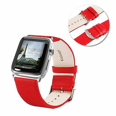 Tuff-Luv Genuine Leather Wrist Strap Band for Apple Watch 1 / 2 Strap - 42mm