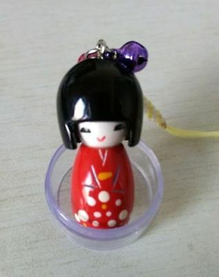 2pcs Handmade Cute Japanese Creative Kokeshi Wooden Doll Girl Keychain 4cm