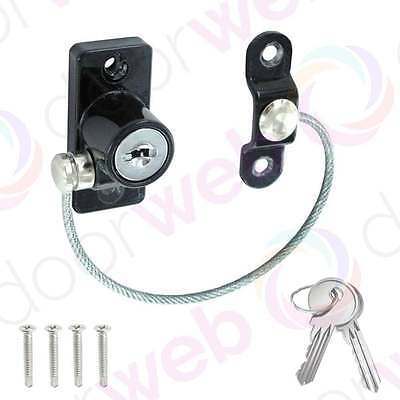 BLACK SAFETY WINDOW RESTRICTOR Lock UPVC Door Child Security Chain Wire Cable
