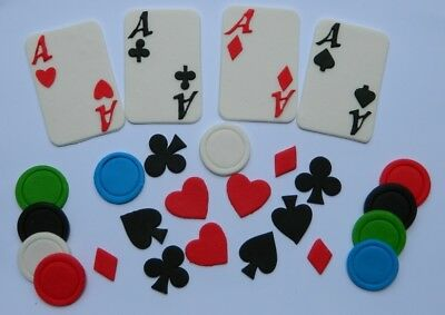 52pc edible POKER CASINO LAS VEGAS cake decorations CUPCAKE TOPPER chips CARDS
