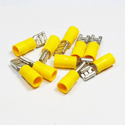 Insulated Yellow Female Spade Terminal Connector Terminals Crimp Electrical