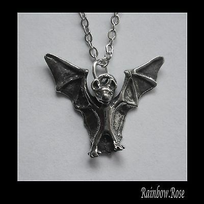 Chain Necklace #2212 Pewter LITTLE BAT (20mm x 18mm) GOTH