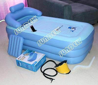 SUNDELY Adult Folding Portable SPA Bathtub PVC Warm Inflatable Bath Tub Air Pump