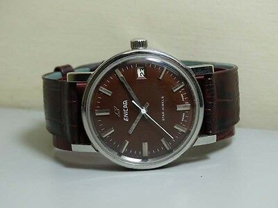 VINTAGE ENICAR WINDING STAR JEWELS SWISS MENS WRIST WATCH OLD USED E619 Superb