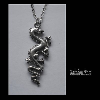 Chain Necklace #2287 Pewter DRAGON (33mm x 13mm)