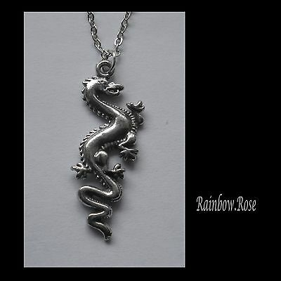 Pewter Necklace on Chain #2287 DRAGON (33mm x 13mm)