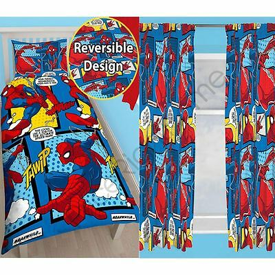 """Spiderman Webhead Rotary Single Duvet & Curtains Available In 54"""" & 72"""" Drop New"""