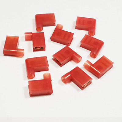 Red Fully Insulated 90 Degree Flag Connector Terminals Crimp Electrical Terminal