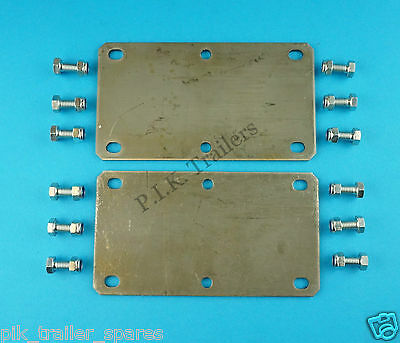 2 x 6 Hole 350kg-500kg Trailer Suspension Unit Mounting Plates & BOLTS