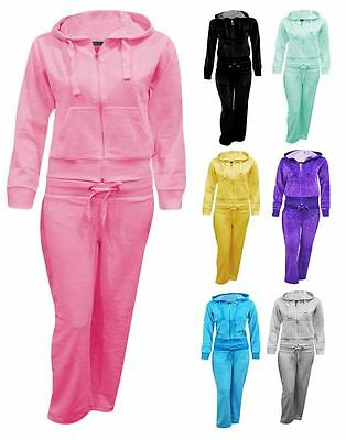 Kids Girls Childrens Hooded Velour Comfortable Sports Lounge Top Tracksuit Set