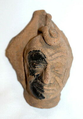 Authentic Aztec Mayan Warrior Relic Pottery Face Mask Museum Quality