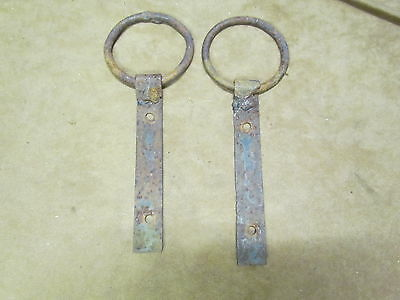 Antique Primitive Barn Hardware Welded  Steel Rings Steam Punk Decor