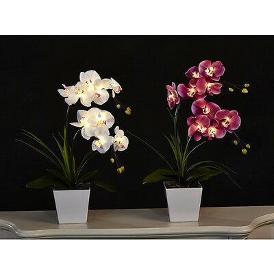 Artificial LED Flower Decoration with 9 Lights Orchid Arrangement Christmas Gift
